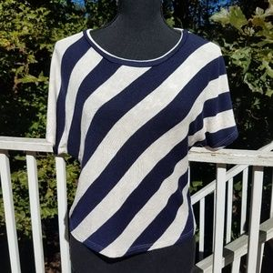 Crop Top Navy and Cream Stripe Large
